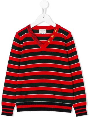 Gucci Kids striped V-neck sweater