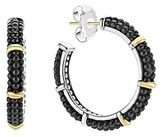 Lagos Black Caviar Ceramic 18K Gold and Sterling Silver 5 Station Hoop Earrings