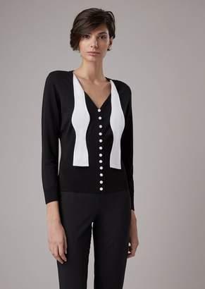 Giorgio Armani Plain-Knit Cardigan With Jacquard Bow Tie Decoration