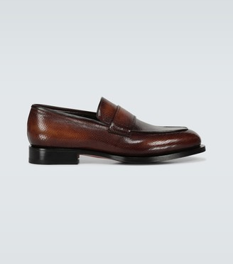 Santoni Textured leather loafers