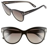 Tom Ford Women's 'Lily' 56Mm Polarized Cat Eye Sunglasses - Black/ Smoke Polarized