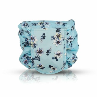 Flo Fashion Cosmetic Drawstring Pouch Flowers Turquoise