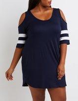 Charlotte Russe Plus Size Football Stripe Cold Shoulder Dress