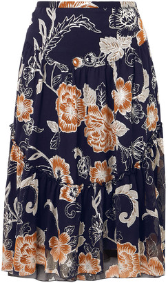 See by Chloe Metallic Printed Silk And Cotton-blend Crepon Skirt