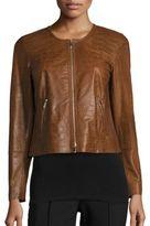 Lafayette 148 New York Benton Crocodile-Embossed Leather Jacket