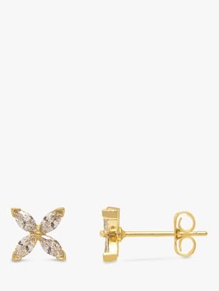 Estella Bartlett Cubic Zirconia Flower Stud Earrings, Gold