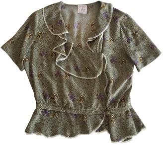 Stella Jean Green Silk Tops