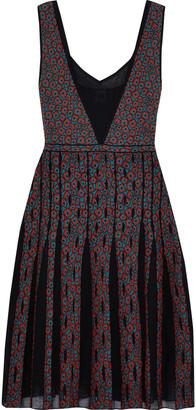 M Missoni Pleated Mesh-paneled Jacquard-knit Dress