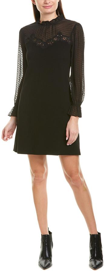 Rebecca Taylor Crepe Lace Shift Dress