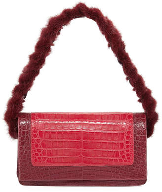 Nancy Gonzalez Mink Fur & Crocodile Shoulder Bag