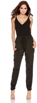 Quiz Black Satin Elastic Waist Tapered Trousers