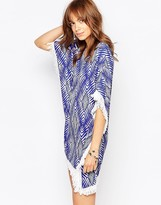 Pepe Jeans Fringe Detail Caftan Dress With Print