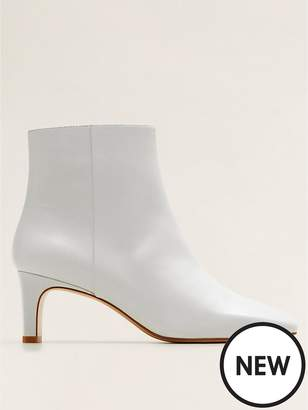 MANGO Leather Ankle Boots - White