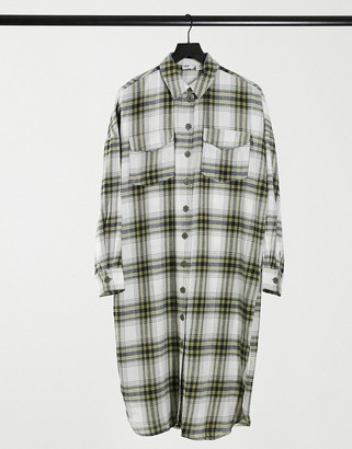 Noisy May longline shirt dress in white check