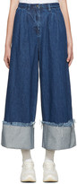 Edit Blue Denim Turn Up Culottes