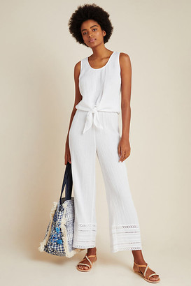 Anthropologie Gauzy Tie-Front Lounge Set By in White Size S