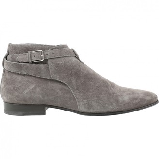Saint Laurent Connor Jodphur Grey Suede Boots