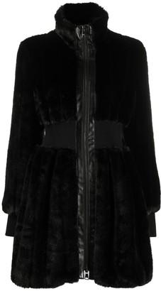 Karl Lagerfeld Paris Ribbed-Waist Faux Fur Coat