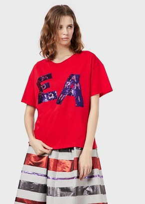 Emporio Armani Jersey T-Shirt With Double-Sided Sequin Logo