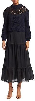 Sea Emma Eyelet Combo Midi Dress