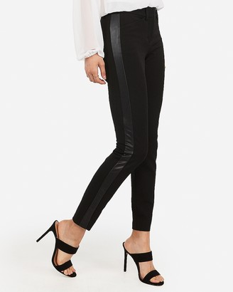 Express Mid Rise Vegan Leather Side Stripe Skinny Pant