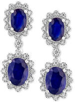 Effy Royale Bleu by Sapphire (3 ct. t.w.) and Diamond (1/3 ct. t.w.) Drop Earrings in 14k White Gold