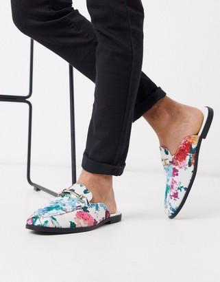 ASOS DESIGN backless mule loafer with floral design