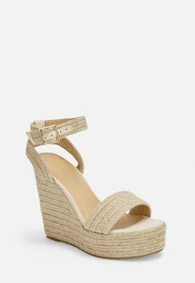 Missguided Beige Woven Wedge Sandals