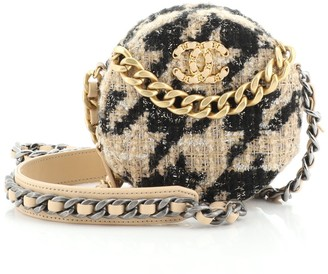 Chanel Round Clutch with Chain with Coin Purse Quilted Tweed with Shearling