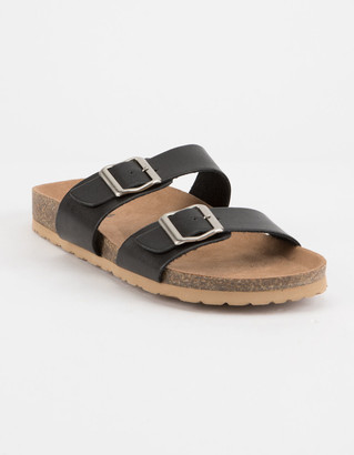 Soda Sunglasses Double Buckle Mustard Womens Slide Sandals