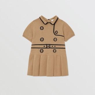 Burberry Childrens Trompe L'Oeil Intarsia Wool Cashmere Trench Dress