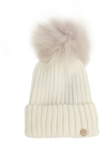 Yves Salomon Fur-pompom ribbed-knit hat