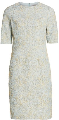 Teri Jon By Rickie Freeman Metallic Jacquard Dress