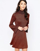 Glamorous High Neck Dress With Bell Sleeves