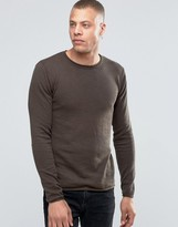 !solid Raw Edge Crew Neck Knit