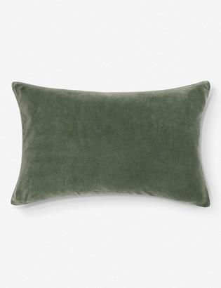 Lulu & Georgia Charlotte Velvet Lumbar Pillow, Moss