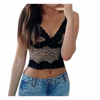 Sokmoop Women's Leopard Bralette Sexy Bra Shirt Lace Cami Crop Top Tank Tops Spaghetti Strap Camisole Sexy Vest Lingerie Blouse Bodysuit T-Shirt Clubwear Rompers Strap Sling Tops(Black S)