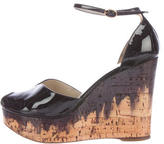 Saint Laurent Painted Cork Wedge Sandals