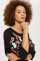 Topshop Embroidered blouson sleeve shift dress