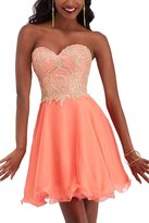 Erosebridal Sweetheart Homecoming Dress for Juniors Appliques Short Cocktail Party Dresses US
