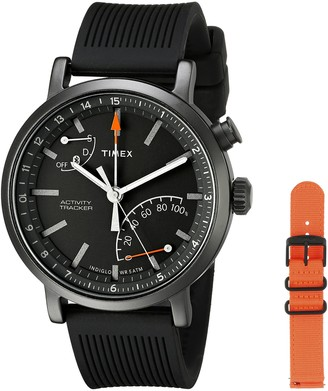 Timex Unisex TWG012600 Metropolitan+ Activity Tracker Smartwatch Gift Set with Black Silicone and Orange Nylon Straps