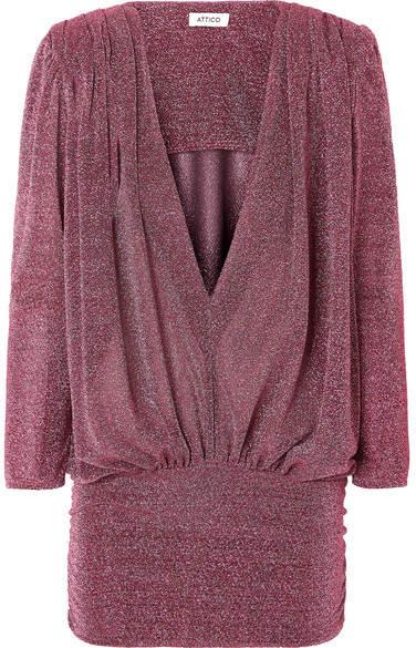 ATTICO Draped Lurex Mini Dress - Pink