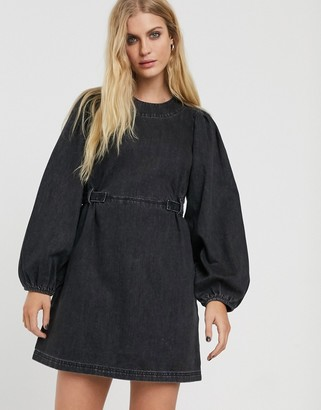 And other stories & denim balloon sleeve mini dress in washed black