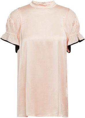 Victoria Victoria Beckham Ruffled Satin And Mousseline Top