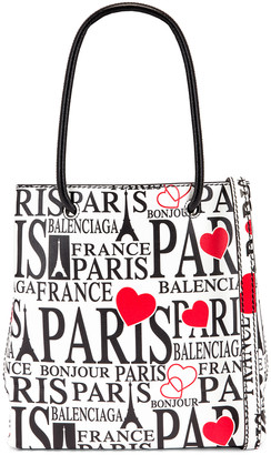 Balenciaga XXS Paris Bonjour Shopping Tote Bag in White & Red   FWRD