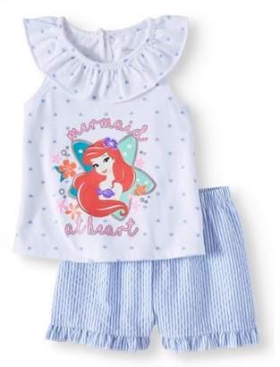 Disney Princess Disney The Little Mermaid Ariel Tank & Shorts, 2pc Outfit Set (Baby Girls)