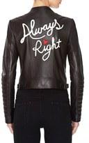 Alice + Olivia Gamma Embroidered Leather Jacket