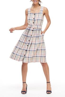 Gal Meets Glam Peyton Linen Blend Plaid Dress