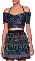 Etro Off-The-Shoulder Floral-Print Crop Top, Blue/Multi
