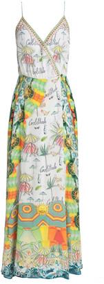Camilla Miranda's Diary Embellished Printed Silk Crepe De Chine Maxi Wrap Dress